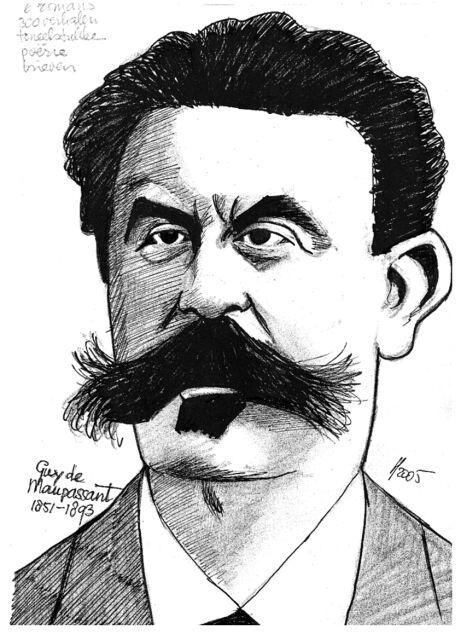 Guy De Maupassant Drawing, Guy De Maupassant