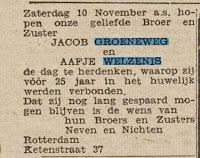 Groeneweg, Jacob en Welzenis, Aafje van Aankondiging 25-jarig huwelijk - Het Vrije Volk 2-11-1945.jpg