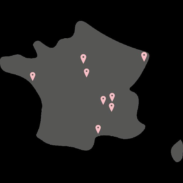 carte des revendeurs officiels de la marque Junny ccréations en béton ciré made in france fait main