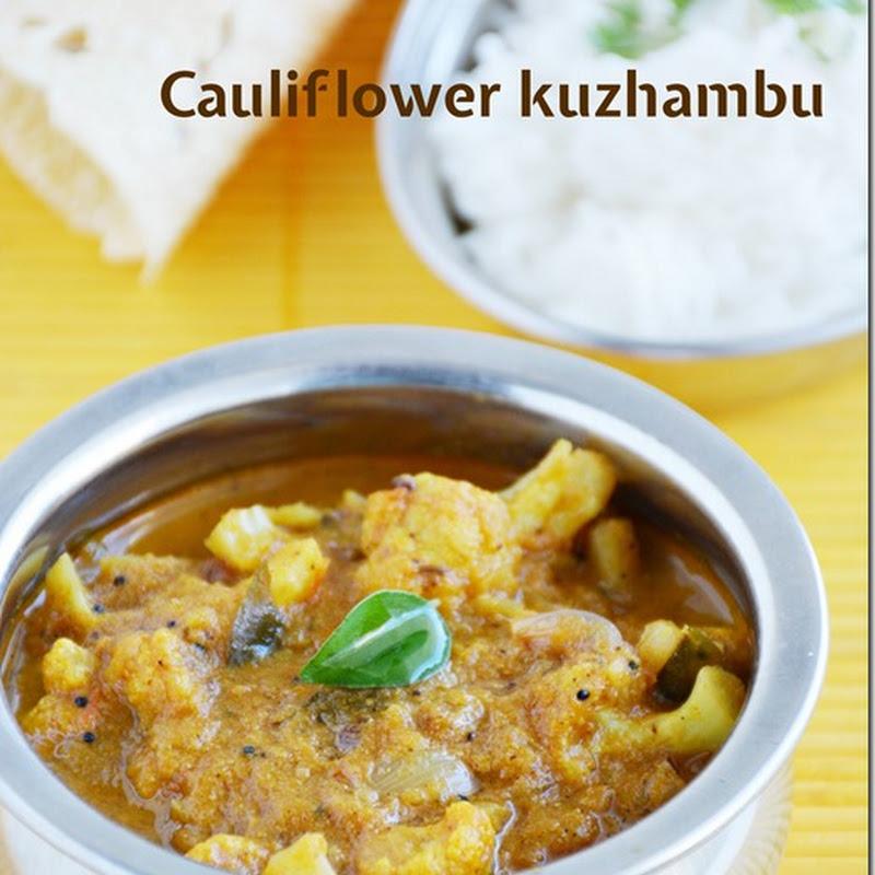 Cauliflower kuzhambu / Cauliflower curry / Cauliflower gravy without coconut