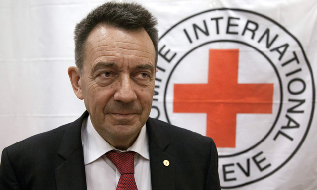 President of the International Committee of the Red Cross, Peter Maurer, says climate change is already exacerbating domestic and international conflicts, and governments must take steps to ensure it does not get worse. Photo: Florent Vergnes / AFP / Getty Images