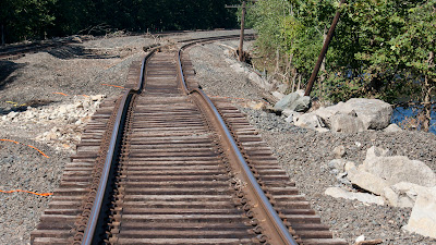 Twisted train tracks behind Dave's Sport Shop south of Sloatsburg.