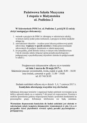 Szkoła muzyczna Białystok rekrutacja 2017/2018