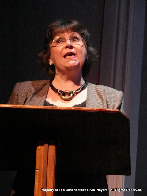 """Susan Katz in """"English Made Simple"""" as part of THE IVES HAVE IT - January/February 2012.  Property of The Schenectady Civic Players Theater Archive."""