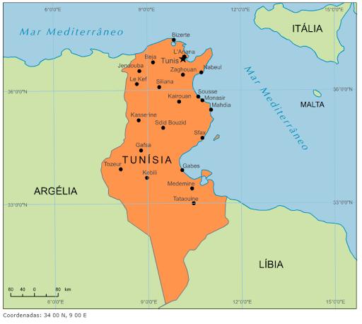 tunisia no mapa Blog de Geografia: Mapa da Tunísia tunisia no mapa