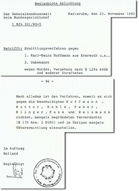 Einstellung Verfahren Hoffmann mangels Tatverdacht