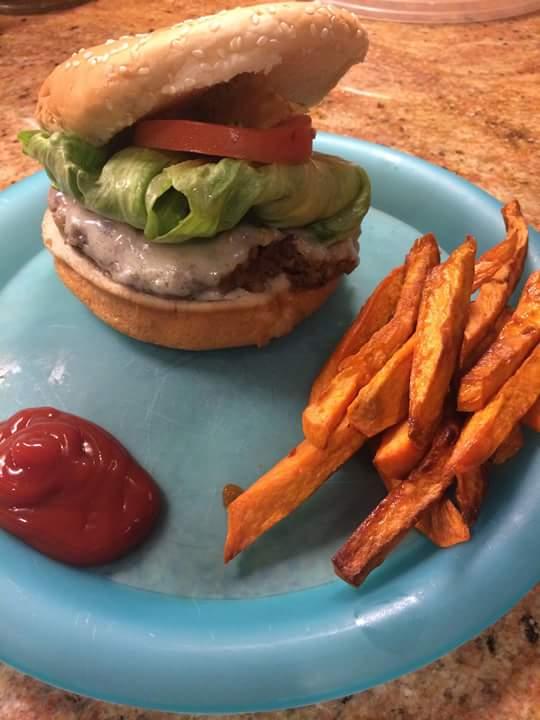 Veggie burger with sweet potatoes fries!