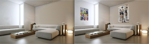 paintings hang in neutral cream colored living room