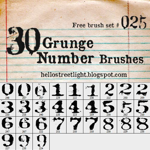 Free Grunge Number Brushes