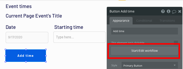 Trigger a new no-code workflow when a button is clicked