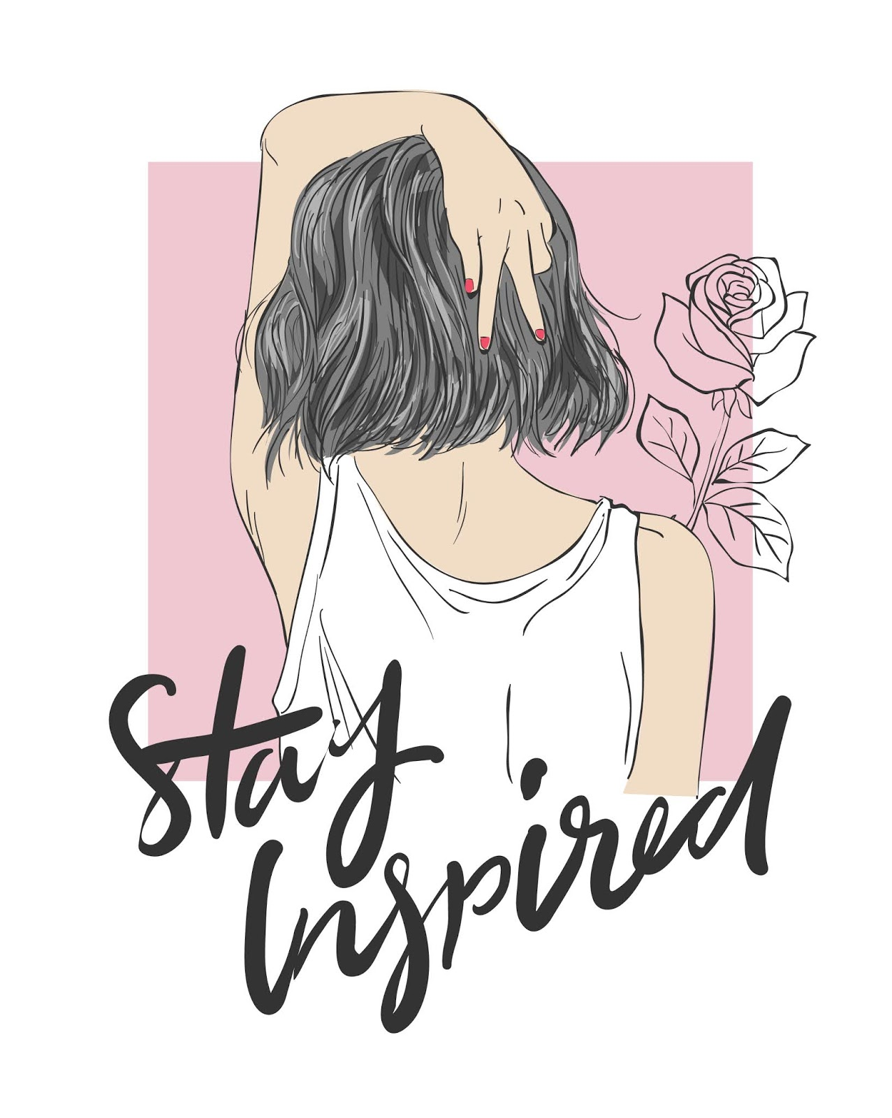 Slogan With Girl Illustration Free Download Vector CDR, AI, EPS and PNG Formats