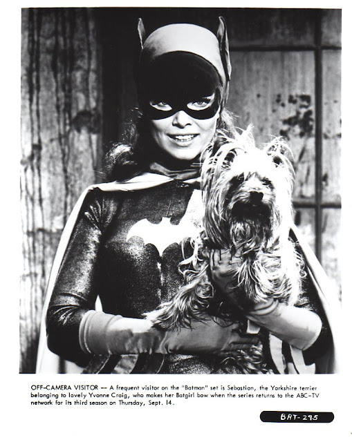 Yvonne Craig and a dog