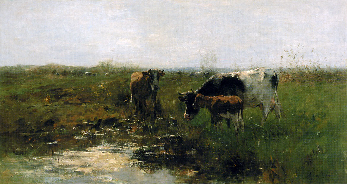 Willem Maris - Drinking cows