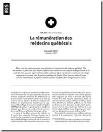 Iris La rémunération des médecins québécois