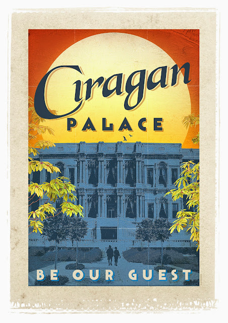the ciragan palace retro poster