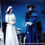 Sara L. Melita and Cristine Henry Sendra in THE IMPORTANCE OF BEING EARNEST (R) - December 1989.  Property of The Schenectady Civic Players Theater Archive.