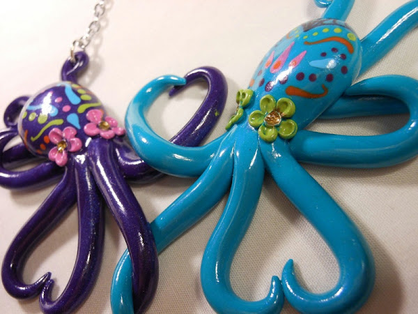 Day of the Dead Entwined Octopi Necklace by Donna the Dead