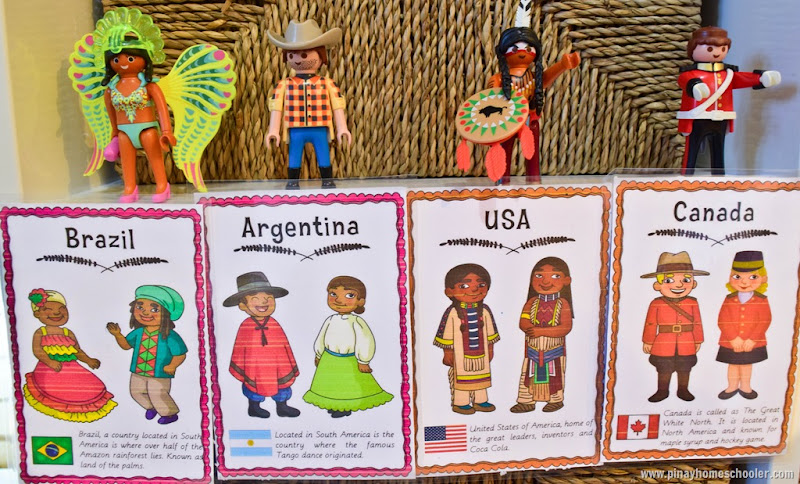 South America and North America Continent Costume Cards