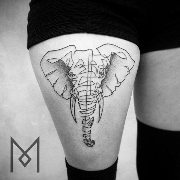 Este elefante desenhado com uma linha contínua
