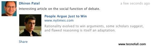Resultado del cuadro de dialogo enviar de facebook