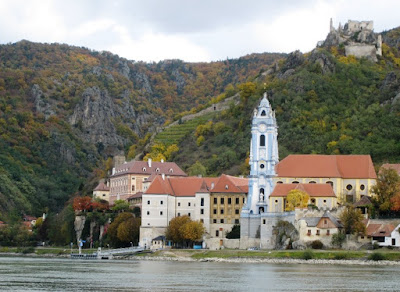 View from the other side of the Danube to Durstein, Wachau, Austria. From Austria for Wine Lovers