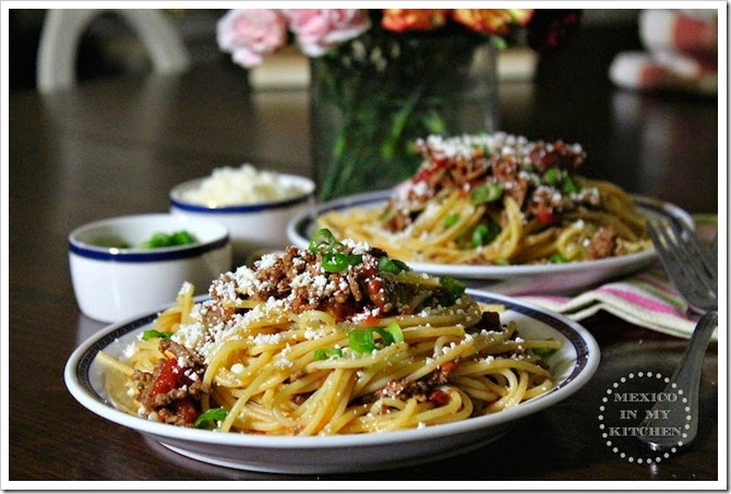 Spaghetti with Chipotle Ground Beef and Cotija | Authentic Mexican Food Recipes