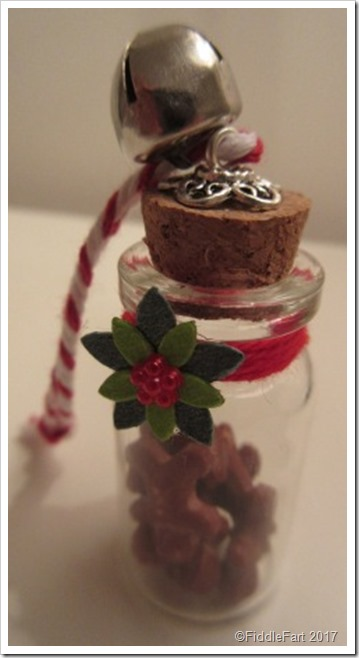 Tiny gingerbread men in a bottle Christmas Tree Decoration