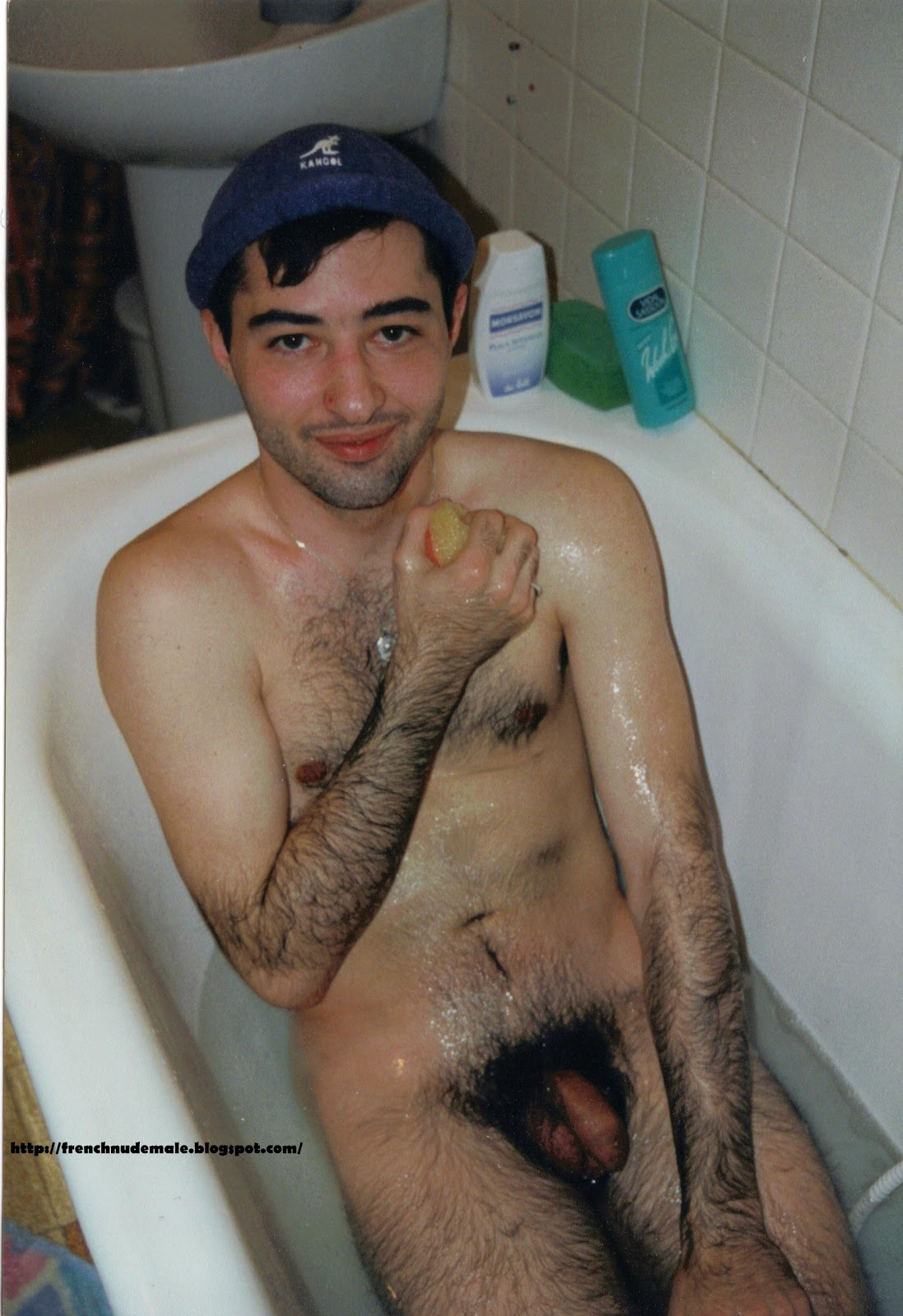 Naked men in a bathtub tempting
