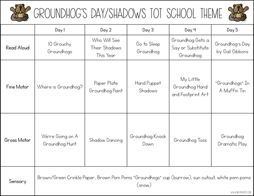 Groundhog's Day Shadows Theme Tot School Plans