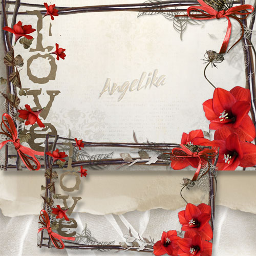 Frame for Lovers - Red Flowers-Symbols Love and Passion