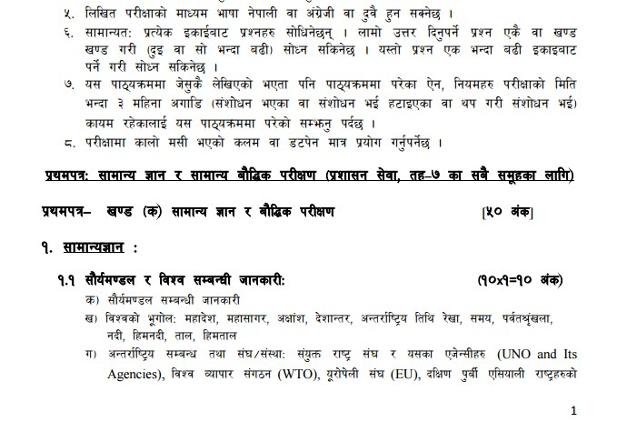 Nepal Electricity Authority Level 7 Account Officer  Syllabus