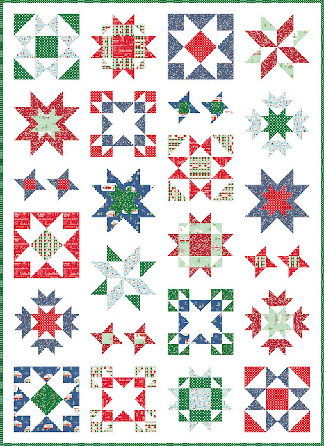 Clear Sky quilt pattern by Andy of A Bright Corner - a modern sampler style star quilt in Christmas Adventure fabrics