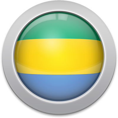 Gabonese flag icon with a silver frame