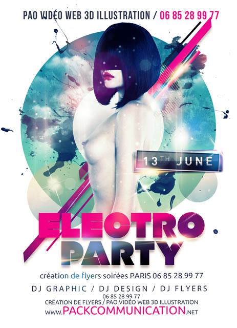 création flyer soirée thème Electro Party 1b