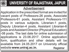 University Rajasthan Advertisement 2017 www.indgovtjobs.in