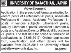University Rajasthan Advertisement 2020 www.jobs2020.in