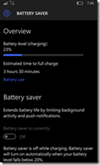 Windows Phone 10, Battery Status showing 23% left