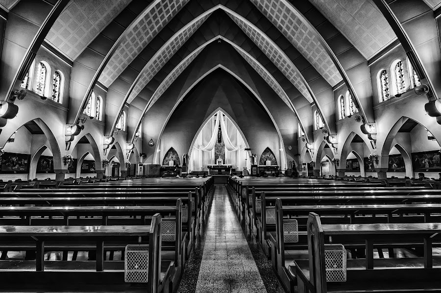 Santa Maria Bunda Karmel Cathedral by Rizki Mahendra - Buildings & Architecture Places of Worship ( black and white, b&w, portrait, people, city, photography, Architecture, Building, Buildings, Exterior, Exteriors, Interior, Interiors, Space, Spaces, HDR, Landmark, Landmarks, Engineering, Tilt Shift, Tiltshift,  )
