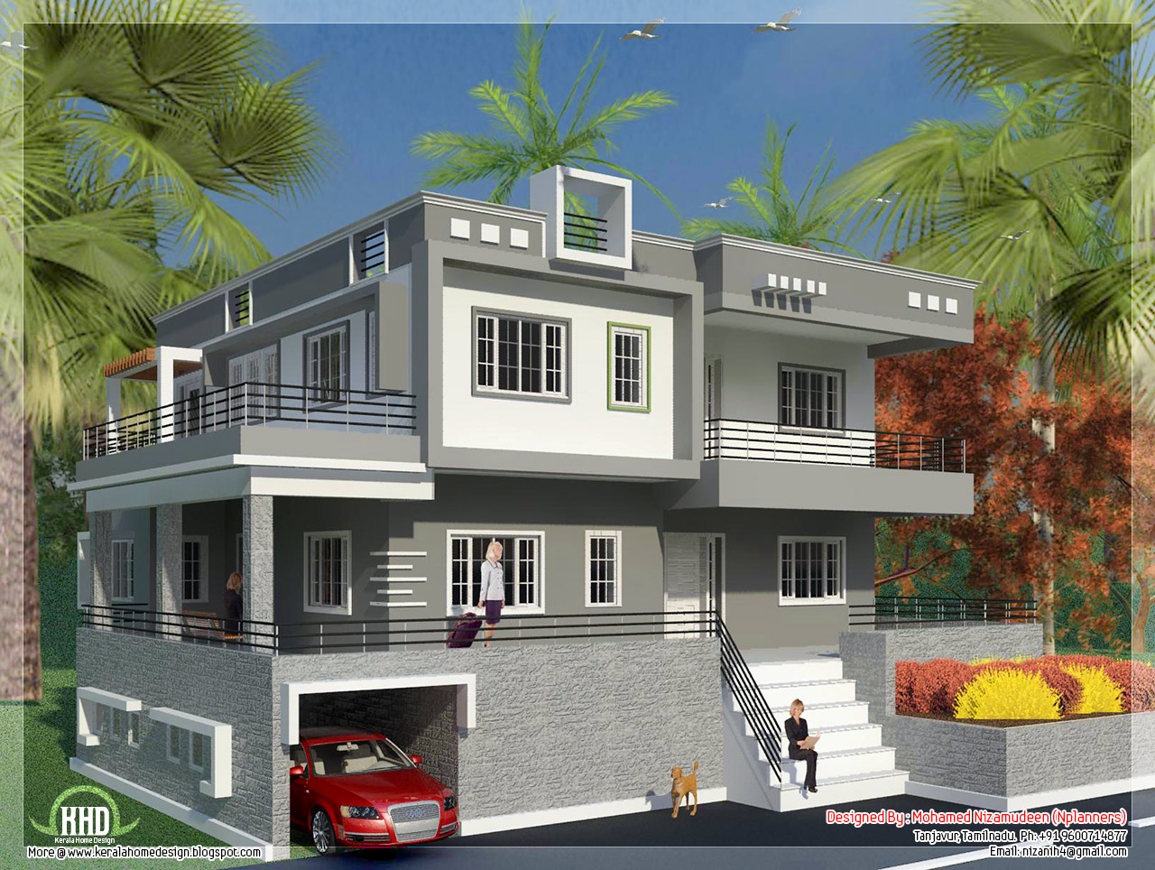 North Indian Style Minimalist House Exterior Design