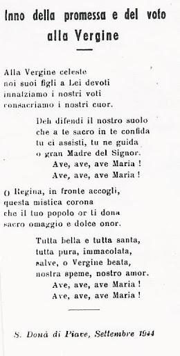 Inno della promessa e del voto della popolazione di San Donà contro le insidie della guerra, rinnovato nel settembre 1944