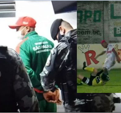Brazilian footballer arrested after kicking referee in head during a match
