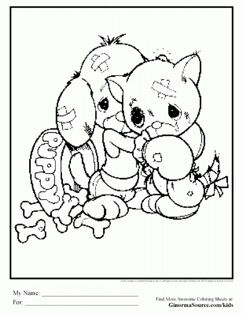 Printable Coloring Pages Of Kittens And Puppies
