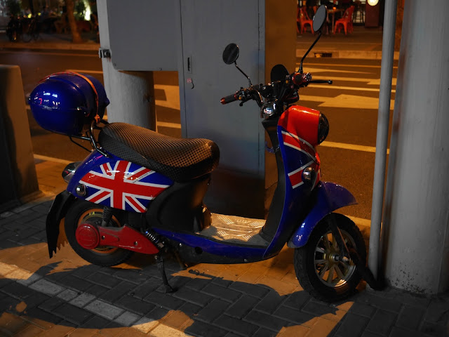 motorbike with British flag design in Shanghai