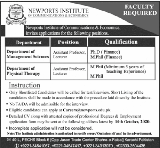 Newports Institute of Communication & Economics Jobs September 2020