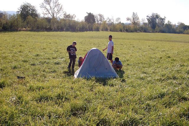 Helping setup a tent...