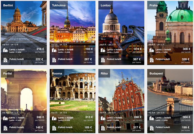 Lento + hotelli -tarjouksia, Expedian ale, äkkilähdöt kesä 2016