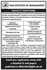 Goa Institute of Management indgovtjobs