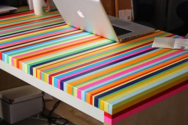 Mesa decorada com fitas coloridas - fácil e fantástico