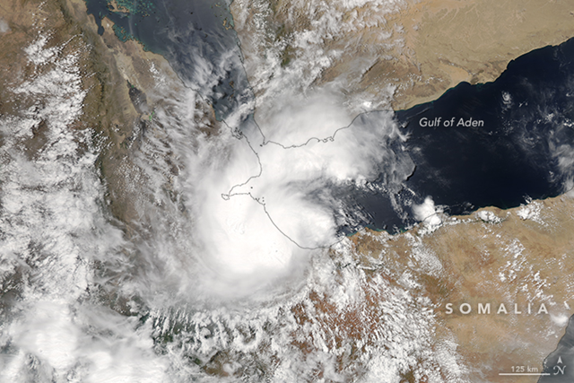 Tropical Cyclone Sagar was the first to hit, making landfall in Somalia on 19 May 2018. On that day, the Moderate Resolution Imaging Spectroradiometer (MODIS) on NASA's Aqua satellite acquired a natural-color image (above) of the storm. Photo: Jeff Schmaltz / LANCE/EOSDIS Rapid Response