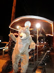 Our wolf mascot dancing on the Alpine Pedaler in downtown Flagstaff (Photo by K. Hanson)